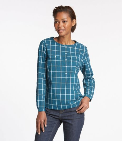 Cotton Henley Pullover, Long-Sleeve Windowpane