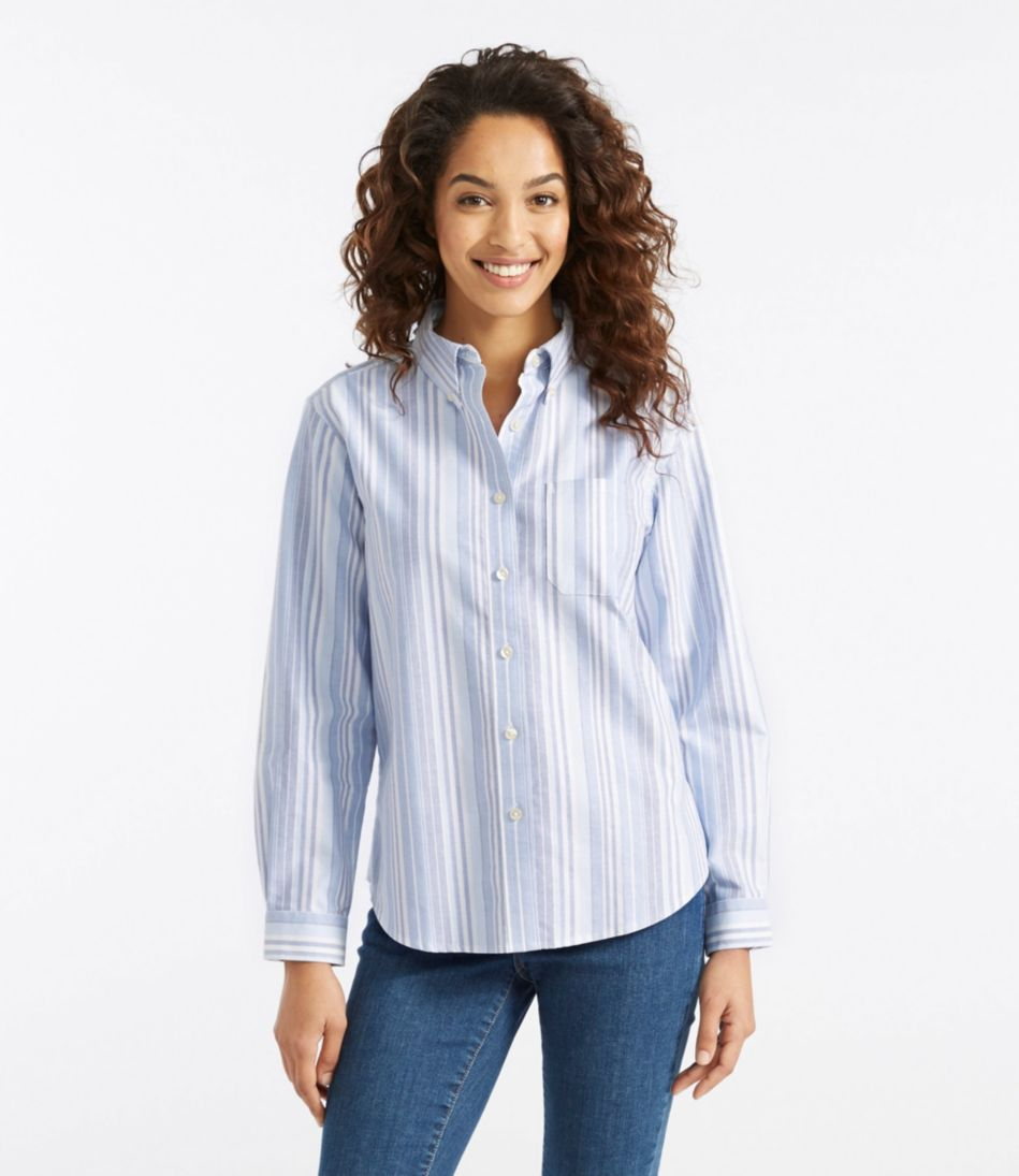 Easy-Care Washed Oxford Shirt, Long-Sleeve Stripe