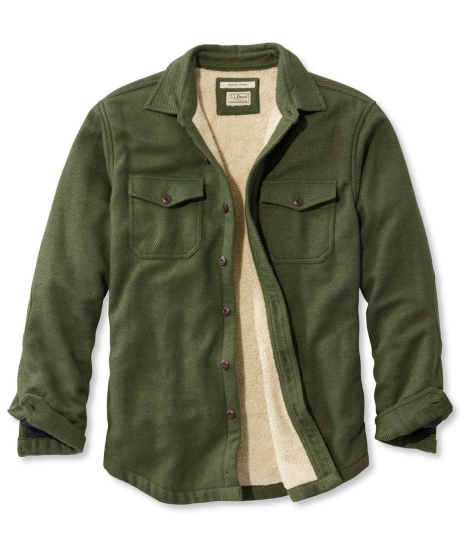 Sherpa-Lined Chamois Shirt, Slightly Fitted