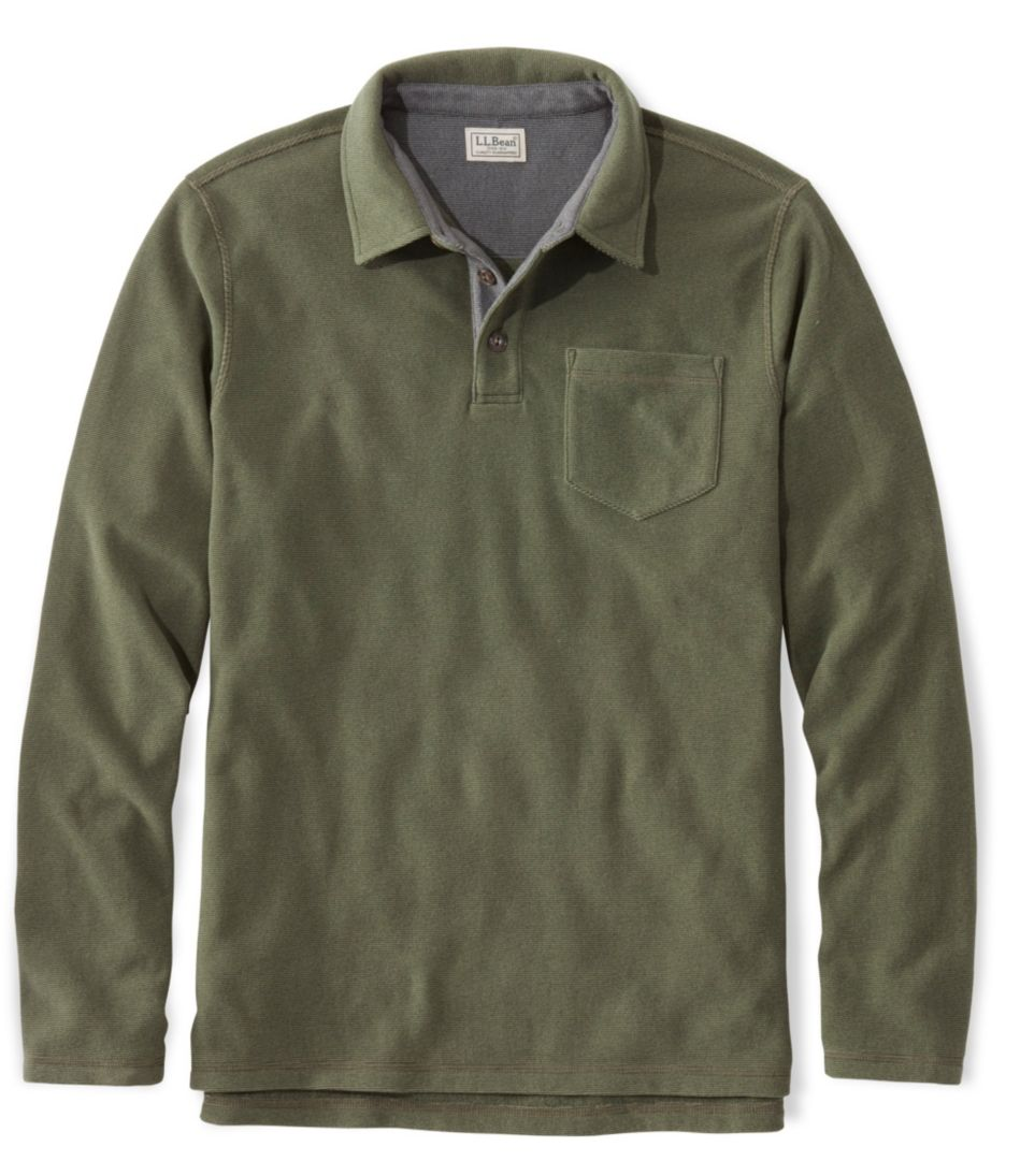 L.L.Bean Fleece Polo Shirt, Long-Sleeve Slightly Fitted
