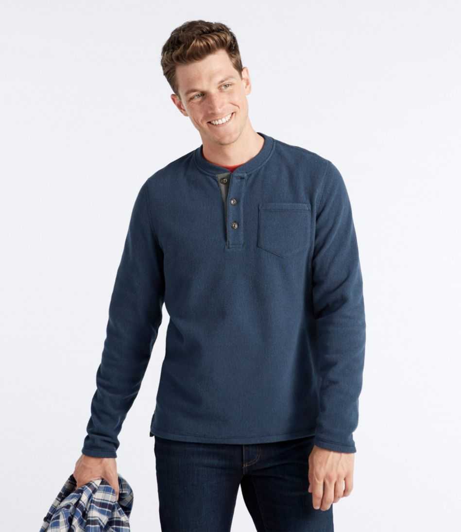 L.L.Bean Fleece Layering Henley, Long-Sleeve Slightly Fitted