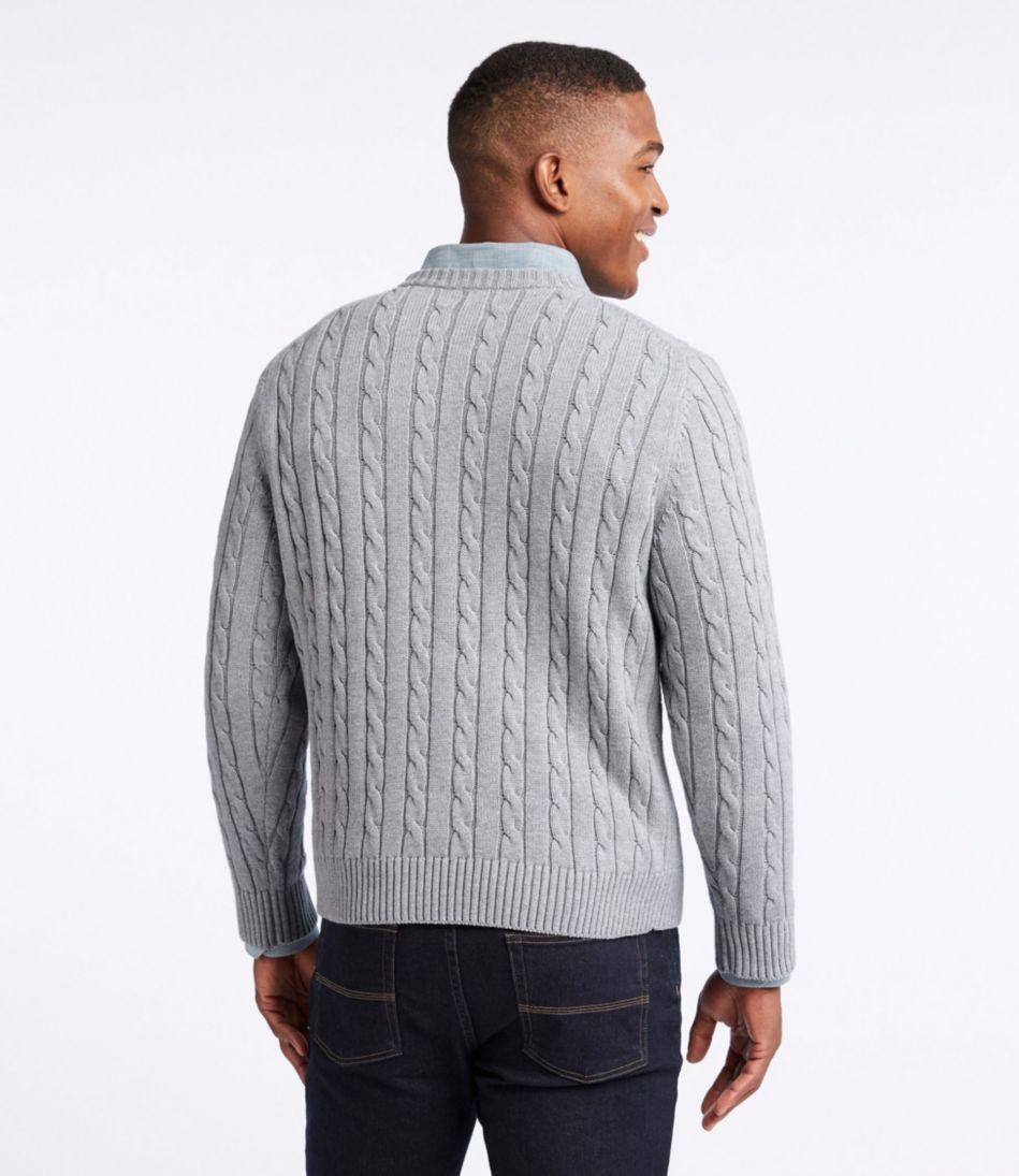 Double L® Cotton Sweater, Cable Crewneck