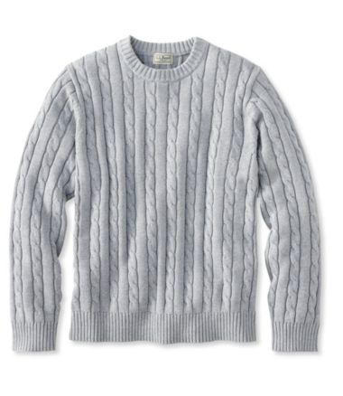 Double L® Cotton Sweater, Cable Crewneck