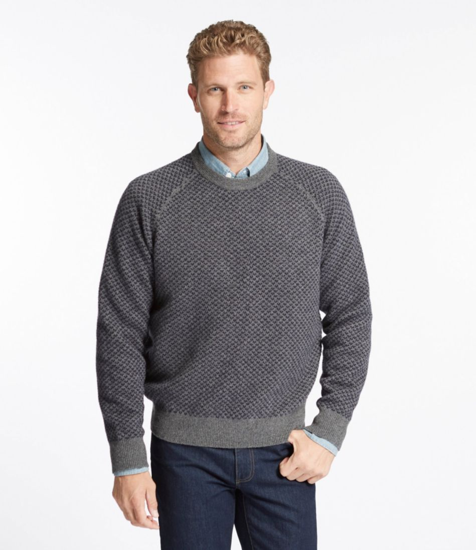 Lambswool Sweater, Raglan Crewneck Bird's-Eye