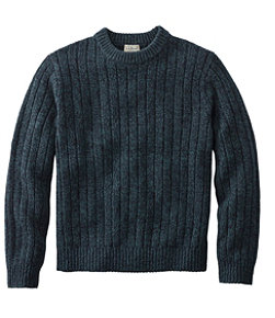 Classic Ragg Wool Sweater, Rib-Knit Crewneck