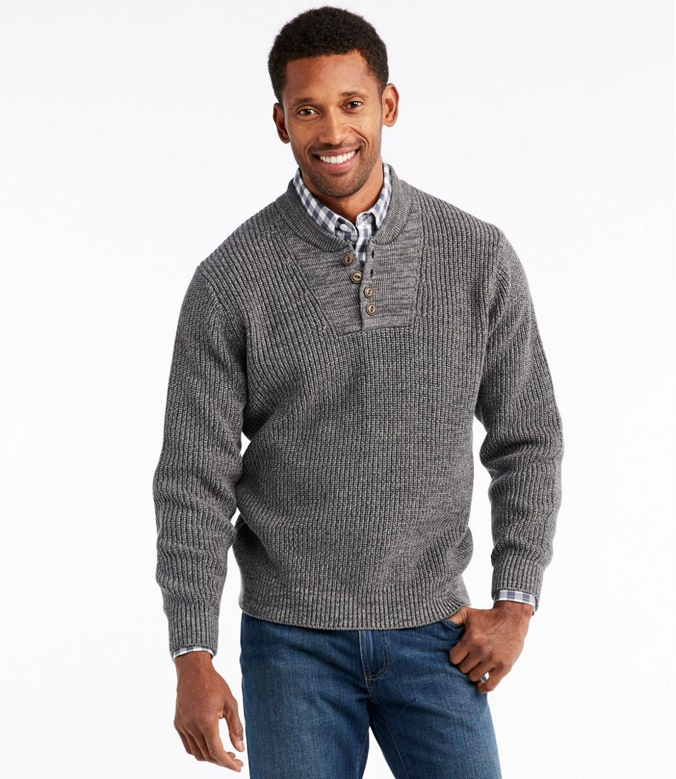 Men's Blue Jean Sweater, Military Henley