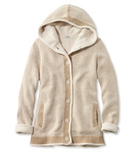 Lined Sherpa-Trimmed Hoodie, Bird's-Eye