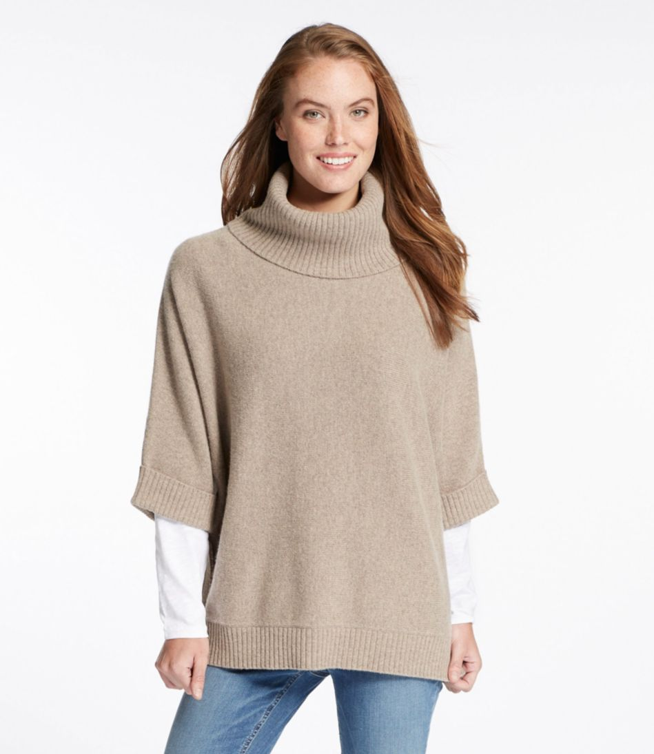 Merino-Blend Sweater Poncho, Cowlneck