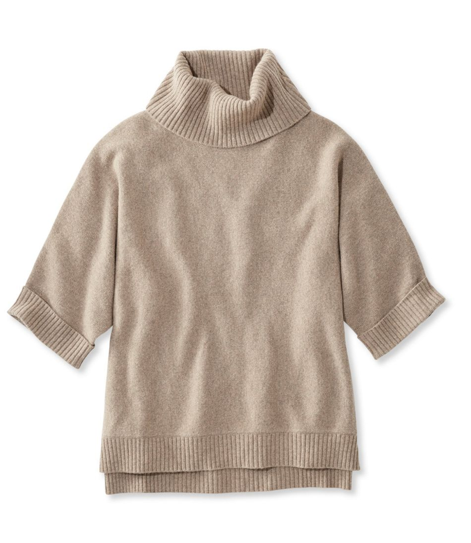 Merino-Blend Sweater Poncho, Cowlneck