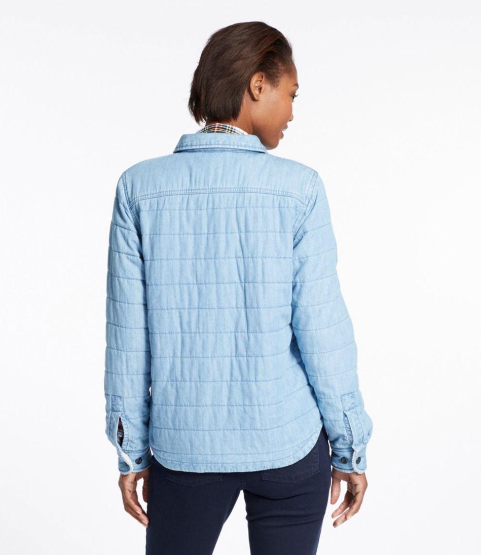 Sherpa-Lined Shirt Jacket, Chambray