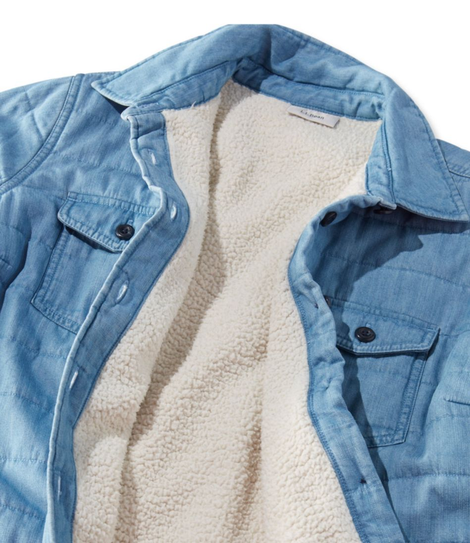 Sherpa-Lined Shirt Jacket, Chambray