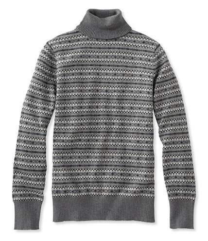 Cotton/Cashmere Sweater, Turtleneck Fair Isle