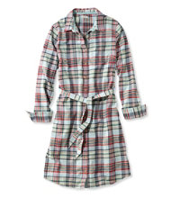 Button-Front Plaid Shirtdress