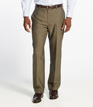 Washable Year-Round Wool Pants, Classic Fit Plain Front Herringbone