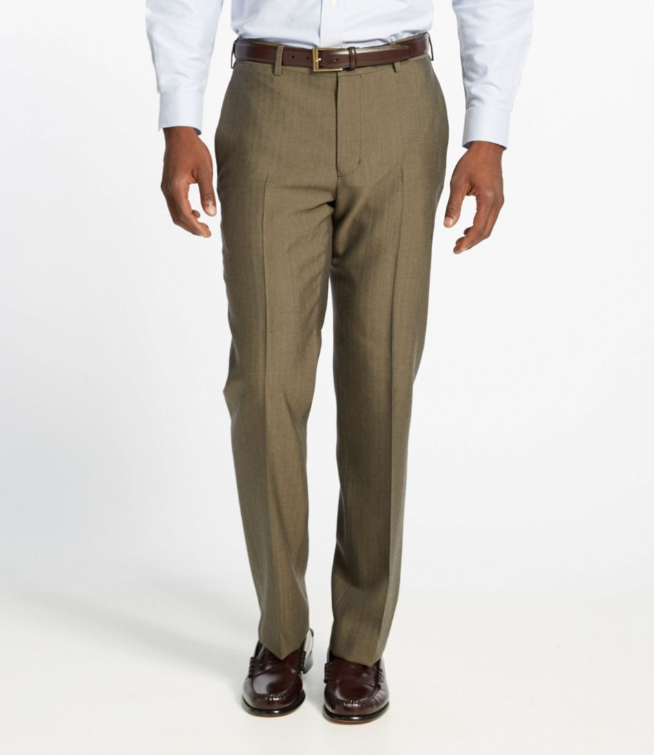 Washable Year-Round Wool Pants, Standard Fit Plain Front Herringbone