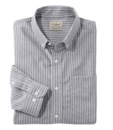 Easy-Care Chambray Shirt, Traditional Fit Stripe
