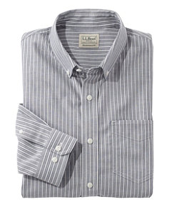 Men's Easy-Care Chambray Shirt, Traditional Fit Stripe
