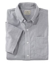Easy-Care Chambray Shirt, Traditional Fit Short-Sleeve Stripe