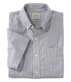 Men's Easy-Care Chambray Shirt, Traditional Fit Short-Sleeve Stripe