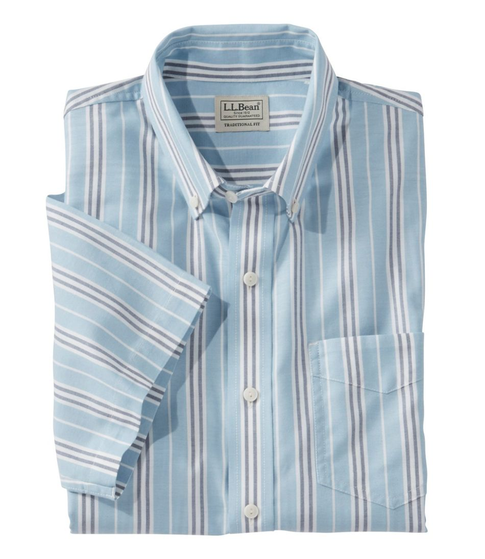 cd5de7505c Men's Easy-Care Chambray Shirt, Traditional Fit Short-Sleeve Stripe