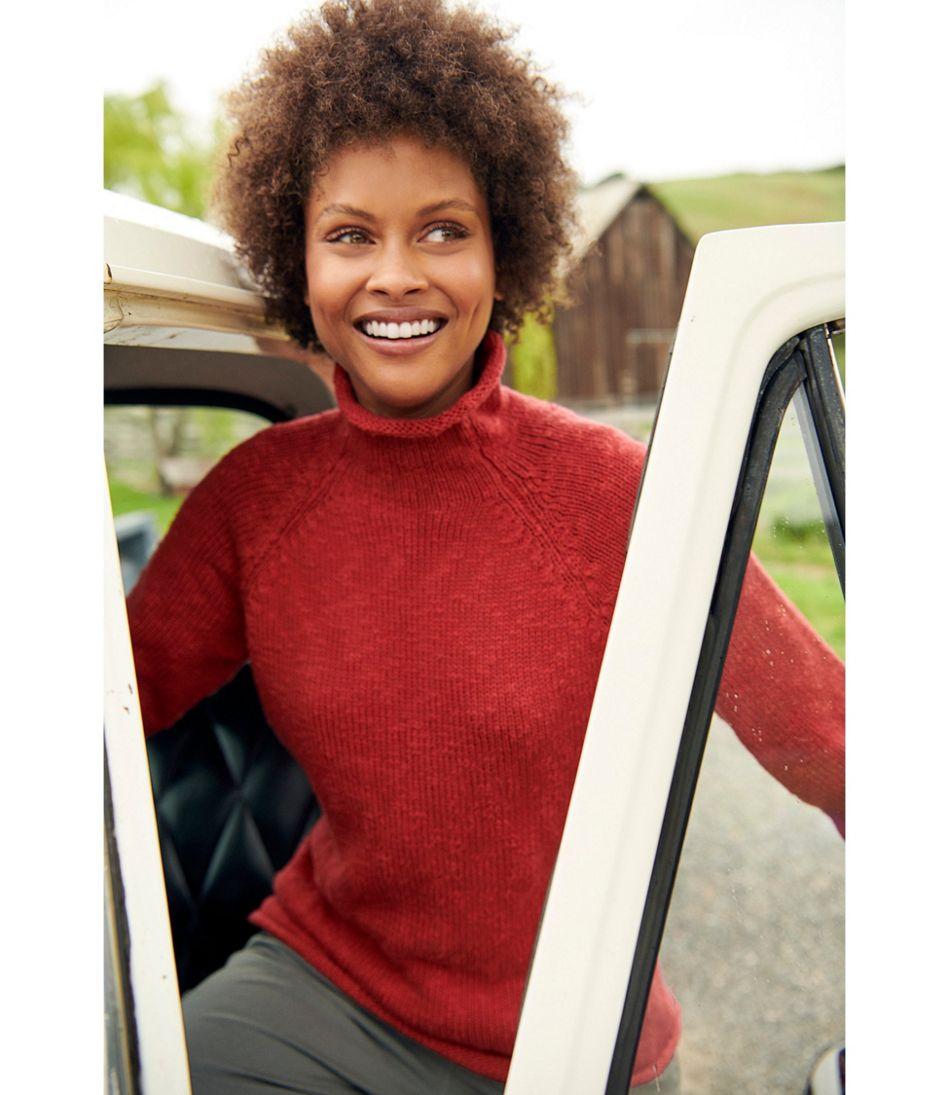 Women's Cottage Cotton Sweater, Funnelneck Pullover