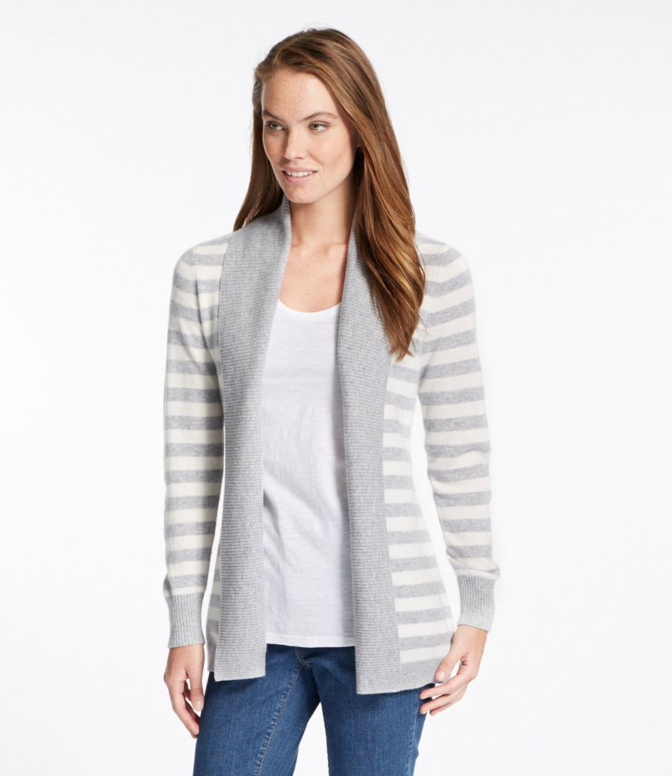 Classic Cashmere Sweater, Open Cardigan Stripe