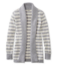 Women's Classic Cashmere Sweater, Open Cardigan Stripe