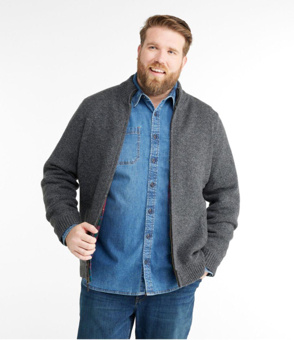 L.L.Bean Classic Ragg Wool Sweater, Full-Zip Flannel-Lined