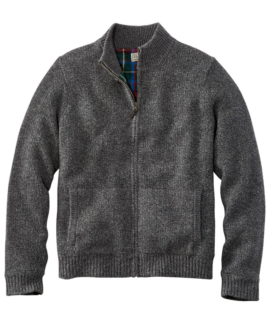 L.L.Bean Classic Ragg Wool Sweater, Full-Zip Flannel-Lined
