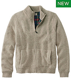 Men's L.L.Bean Classic Ragg Wool Sweater, Full-Zip Flannel-Lined