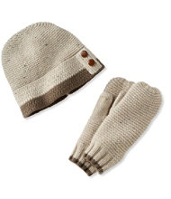 Women's Basket-Weave Hat and Mitten Set, Colorblock