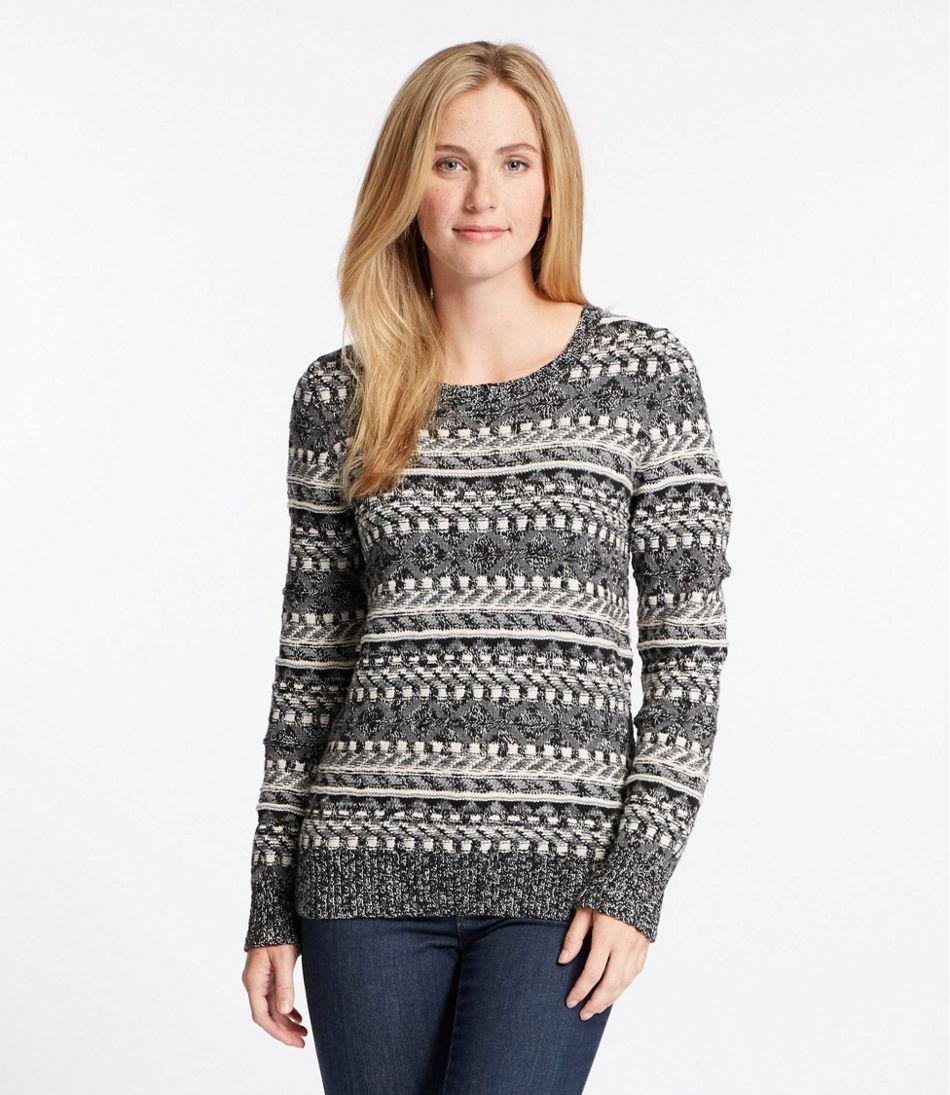 Women's Cotton Ragg Sweater, Fair Isle Pullover