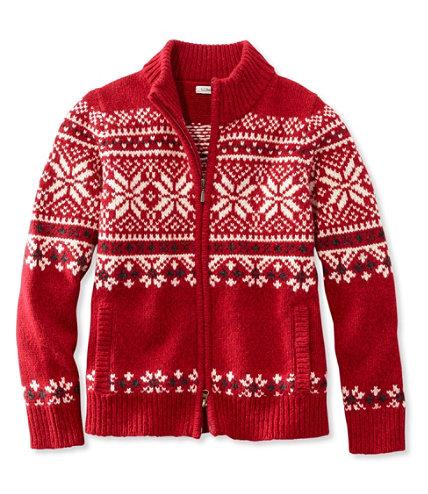 L.L.Bean Classic Ragg Wool Sweater, Zip Cardigan Fair Isle | Free ...