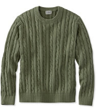Double L Cotton Sweater, Cable Crewneck