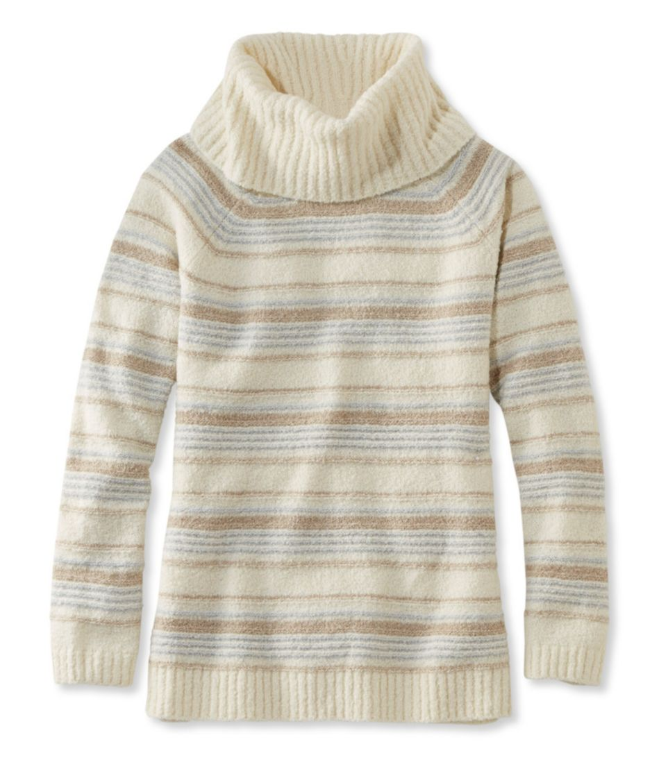 Women's Cozy Bouclé Sweater, Cowlneck Stripe