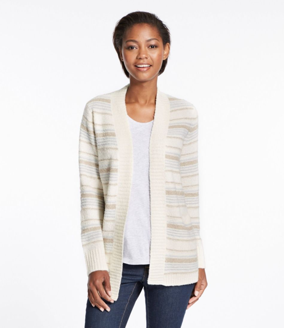 Cozy Bouclé Sweater, Open Cardigan Stripe