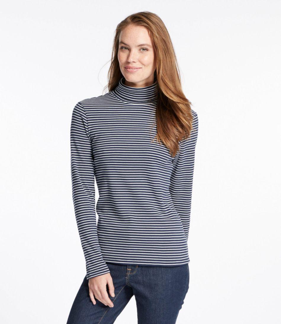 Double L® Rib-Knit Turtleneck, Stripe