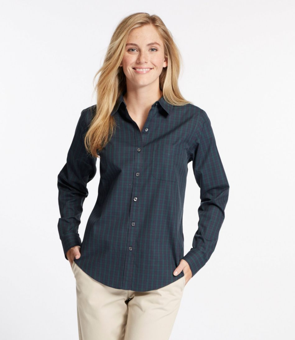 Wrinkle-Free Pinpoint Oxford Shirt, Relaxed Fit Long-Sleeve Plaid