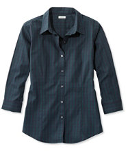Wrinkle-Free Pinpoint Oxford Shirt, Three-Quarter-Sleeve Slightly Fitted Plaid