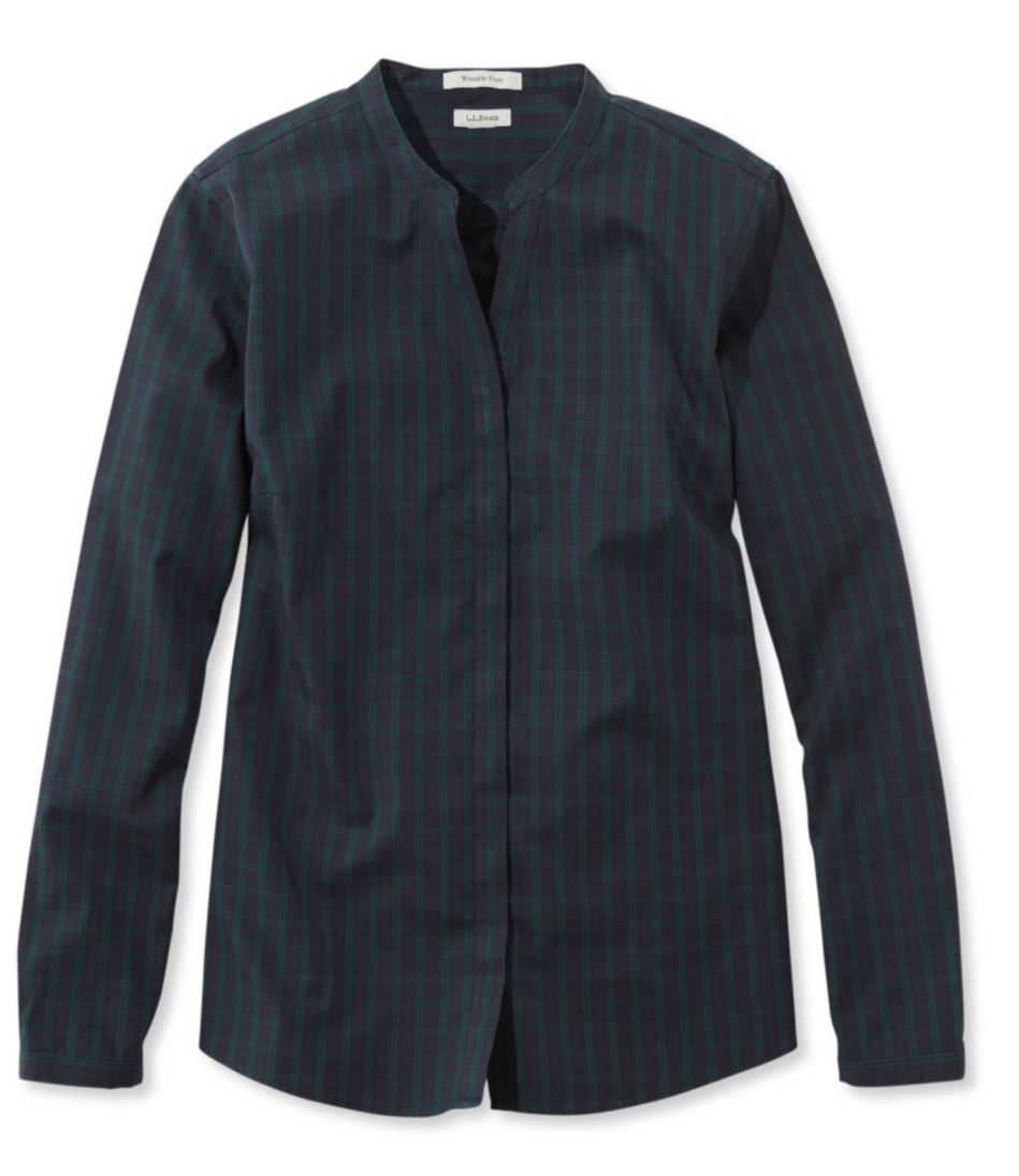 Wrinkle-Free Pinpoint Oxford Shirt, Long-Sleeve Splitneck Slightly Fitted Plaid
