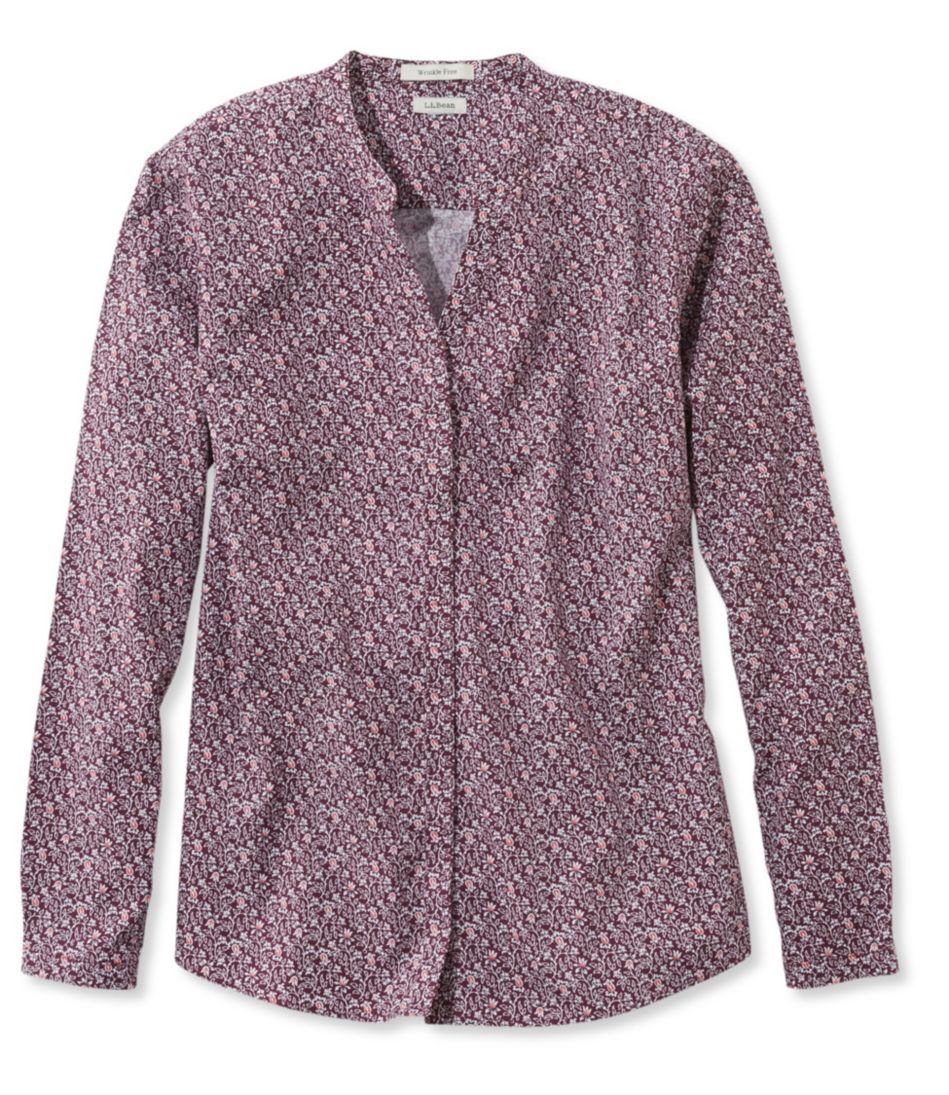 Wrinkle-Free Pinpoint Oxford Shirt, Long-Sleeve Splitneck Slightly Fitted Floral