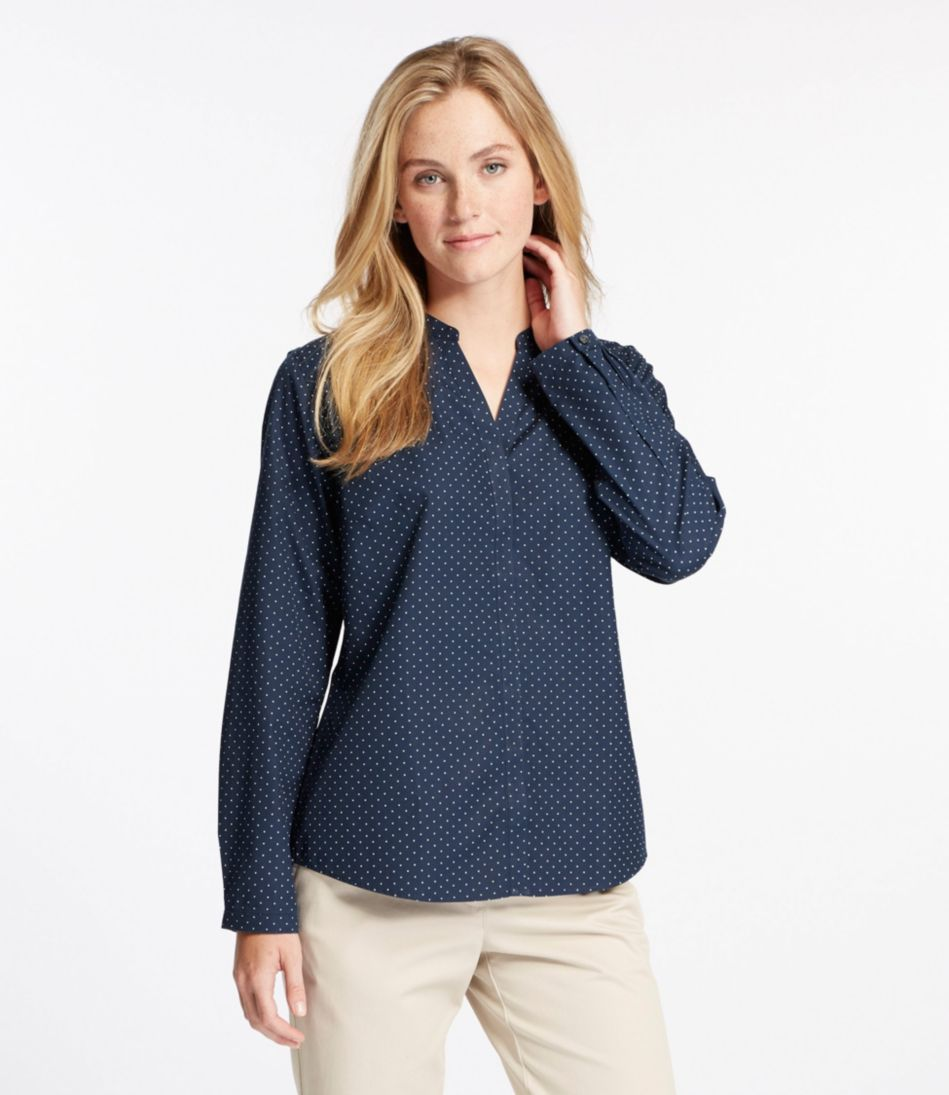 Wrinkle-Free Pinpoint Oxford Shirt, Long-Sleeve Splitneck Slightly Fitted Dot