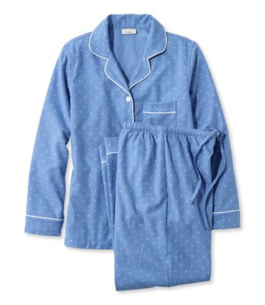 Pima Cotton Flannel Sleepwear Pajama Set, Dot