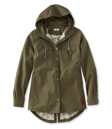 Water-Resistant Hooded Shirt Jacket, Women's