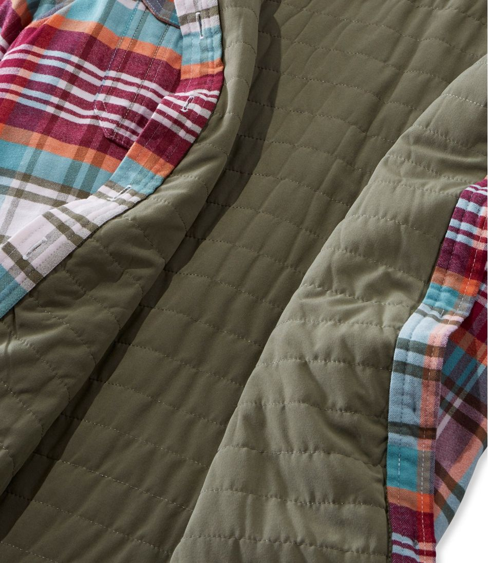 Women's Quilted Woven Shirt Jacket, Insulated Plaid