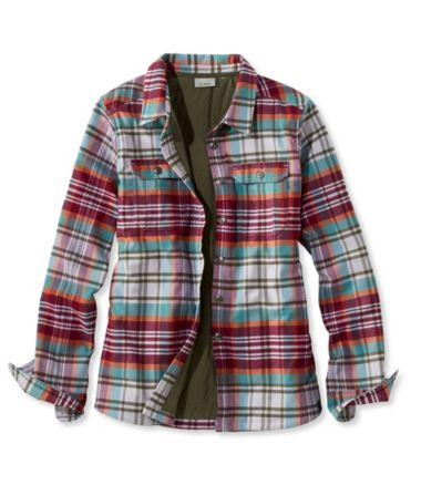 Quilted Woven Shirt Jacket, Insulated Plaid