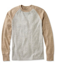 Washed Cotton Double-Knit Crewneck, Slightly Fitted Long-Sleeve Colorblock