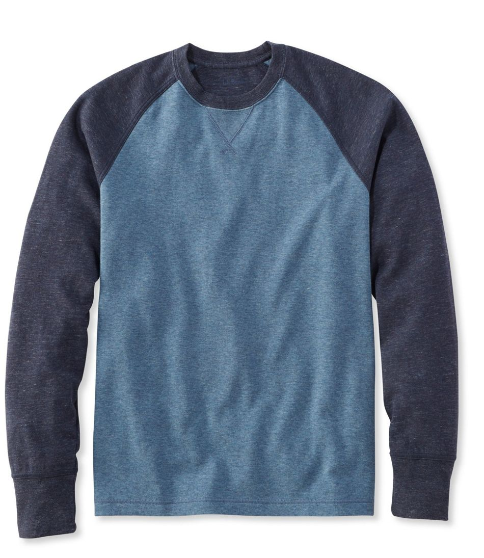 Men's Washed Cotton Double-Knit Crewneck, Slightly Fitted Long-Sleeve Colorblock