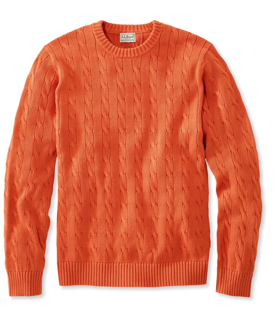Men's Cotton Cable Sweater, Crewneck Slightly Fitted