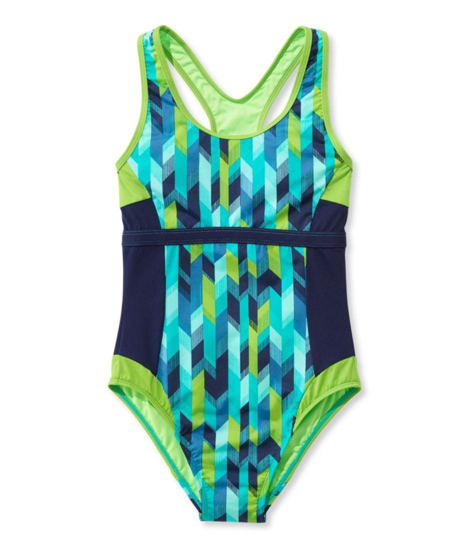 L.L.Bean Active Swim Collection, Racer-Back Tanksuit Print